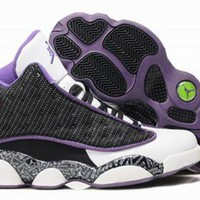 Hot Air Jordan 13 Retro Women Shoes Black Purple White
