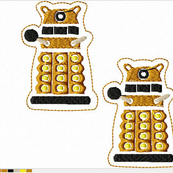 DIGITAL FILE robot exterminate beings D-octor Who felt clippies 4x4 ITH Machine Embroidery Design download clips felties