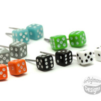 Mini Dice Stud Earrings  Pick Your Color by Gr0glmann on Etsy