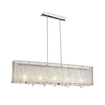 Dianolite Decorative 5 Light Horizontal Crystal Chandelier, Polished Chrome, Oyster Organza Rectangular Shade