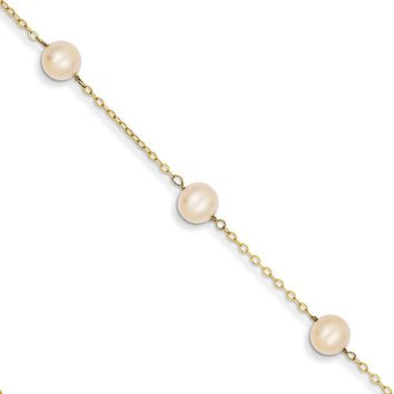 14kt Yellow Gold 9 Inch Freshwater Cultured Pearl Ankle Bracelet