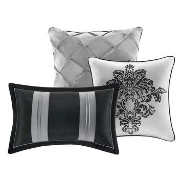 King size 7-Piece Comforter Set w/ Black Grey Damask Pattern