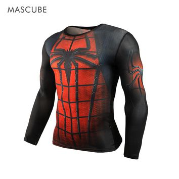 MASCUBE Hot Sell Men Sport Compression Comic Shirt Men Running Shirts Spiderman Male Running Jersery Bodybuilding Sports Tees