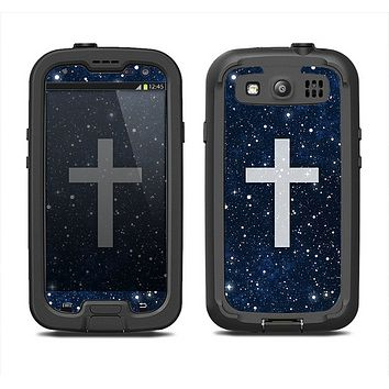 The Vector White Cross v2 over Bright Starry Sky Samsung Galaxy S3 LifeProof Fre Case Skin Set