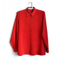 Vintage Red Button Up Blouse Womens Shirts 80s 90s Large L