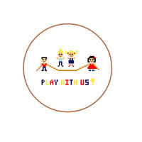 EASY cross stitch pattern of playing children from our kids series. Use as birthday invite card.  Dutch, English, Spanish pattern