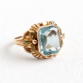 Vintage 10k Rosy Yellow Gold Simulated Aquamarine Ring- Size 5 Art Deco 1930s Light Blue Emerald Cut Glass Stone Fine Jewelry Hallmarked BDA