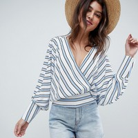ASOS DESIGN batwing plunge top in blue & white stripe at asos.com