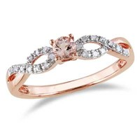 3.5mm Morganite and Diamond Accent Twine Promise Ring in Rose Rhodium Plated Sterling Silver   - View All Jewelry - Gordon's Jewelers