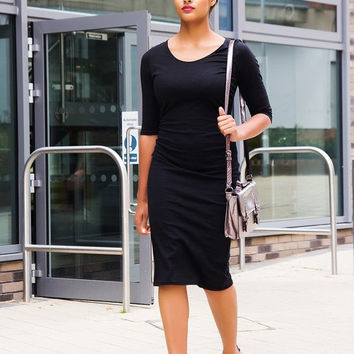 Paige 3/4 Sleeve Black Midi Bigger Bust Dress