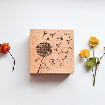 Eco Woodburned Dandellion Jewelry Box - Pyrography Keepsake Box - Woodburning Ring Bearer Box - Beige and Brown