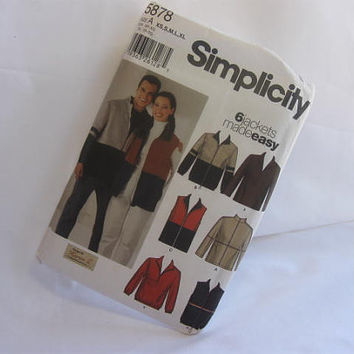 Sewing Pattern Simplicity 5878 Jackets and Vests Made Easy Size XS, S, M, L, Xl