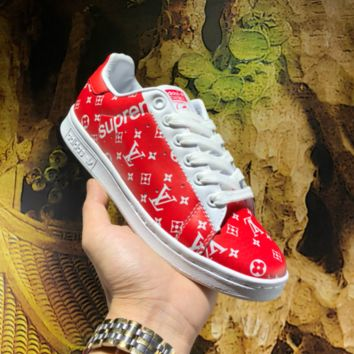 KUYOU A448 Adidas SMS LV x Supreme Leather Casual Low Skate Shoes Red