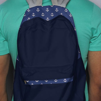 Navy Anchor Backpack