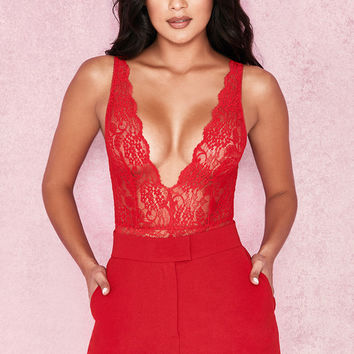 Clothing : Bodysuits : 'Valeri' Red Stretch Lace Plunge Bodysuit
