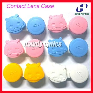 100pcs/lot  Lovely  Hippos Contact Lenses Case Contact Lens Case Double Partner Box Promotional Gift Free Shipping