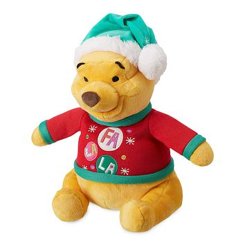 Disney Store Winnie the Pooh Holiday Plush Medium Christmas Santa Hat New
