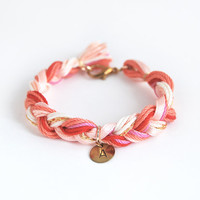 Personalized bracelet with hand stamped initial charm, coral friendship bracelet, initial bracelet, coral braid bracelet