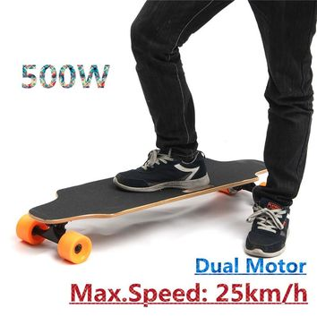 500W 25km/h Dual Motor Electric Skateboard Board Wireless Skate With Remote Control Longboard Hoverboard For Kids Adults