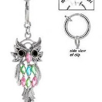 Fake Belly Navel Non Clip on Piercing Multi Color Owl bird Dangle Ring