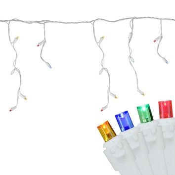 Set of 100 Multi-Color LED Wide Angle Icicle Christmas Lights - White Wire