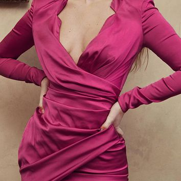 Dancing All Night Satin Long Sleeve Cross Wrap V Neck Ruched Bodycon Mini Dress - 2 Colors Available