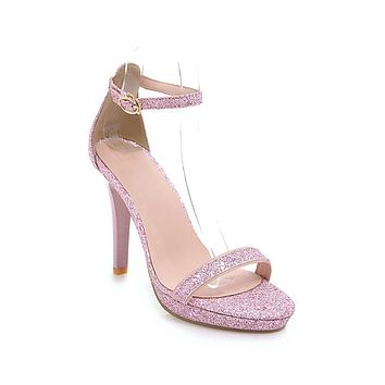 Sequin High Heels Sandals Summer Wedding Shoes 9452