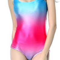 Blue and Pink Gradient One-Piece Swimsuit Design 5014