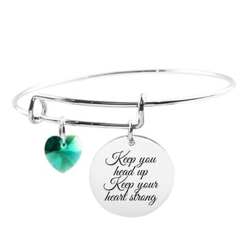 Adjustable Bangle with Crystals from Swarovski - KEEP YOUR HEAD UP
