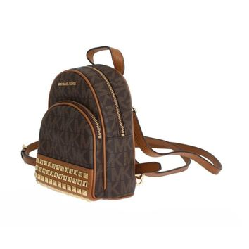 Michael Kors Brown ABBEY Leather XS Backpack