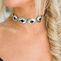 Black Leather Concho Choker