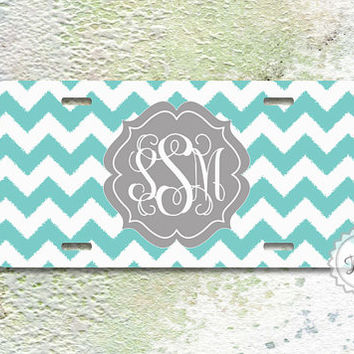 Customized Front License Plate - Tiffany blue ikat chevron Gray monogrammed car tag - 121