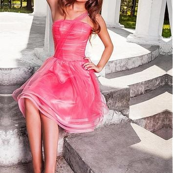 [84.99] Fabulous Tulle & Satin One-shoulder Neckline A-Line Homecoming Dresses With Beads & Rhinestones - dressilyme.com