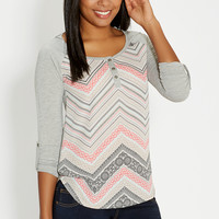 henley top with chiffon front
