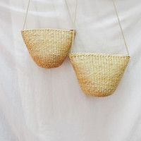 Ladies Hand-woven Mini Beach Basket Fully Lined Straw Bag / Satchel Bag