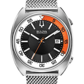 Bulova Mens Accutron Snorkel II Watch - SS Cushion Case & Bracelet - Black Dial