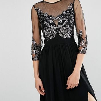 Little Mistress Maxi Dress with Embellished Bust and 3/4 Sleeve at asos.com