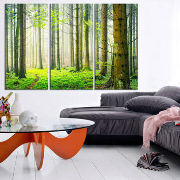 Large Wall Art Green Forest Scenery Photo on Canvas Print - Spring Scenery 3 Panel Canvas Art For Wall Decor