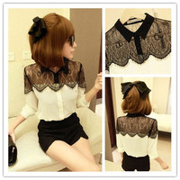2013 HOT Womens Casual Black Lace Chiffon Splicing Shirt Long Sleeve Blouse Tops