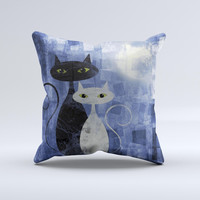 Blue Grungy Textured Cat Ink-Fuzed Decorative Throw Pillow