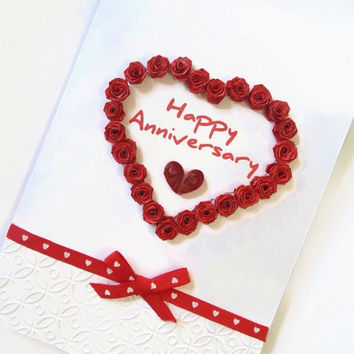 Quilled Anniversary cards, Anniversary cards, quilled cards, quilling cards, paper quilling card, quilled roses card, love card, anniversary