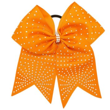 "8"" Orange Girls Gross Grain Cheer Bow with Rhinestone Detail"