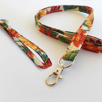 Sunflower Lanyard / Harvest / Autumn Keychain / Sunflowers / Key Lanyard / ID Badge Holder / Fabric Lanyard / Floral Print / Back to School