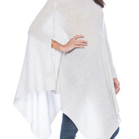 White Asymmetric Hem Knitted Poncho Cape