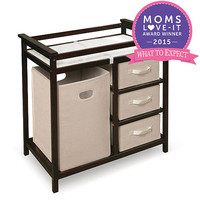 Badger Basket Modern Changing Table with 3 Baskets and Hamper - Espresso