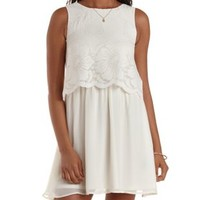 Ivory Lace & Chiffon Flounce Dress by Charlotte Russe