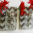 YOU PICK Chevron Wall Decor Pair Two Mason jars mounted on dark recycled wood shabby chic rustic wall decor