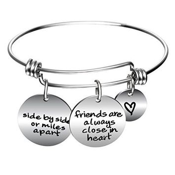 YeeQin Side By Side Or Miles Apart Best Friends Charms Bangle Bracelets  Long Distance Friendship Gifts