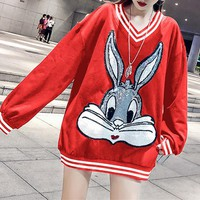 """Gucci"" Women Fashion Sequin Embroidery Cartoon Rabbit Bugs Bunny Long Sleeve Knit Sweater Tops"