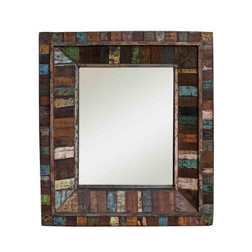 Pre-owned Reclaimed Painted Wood Square Mirror